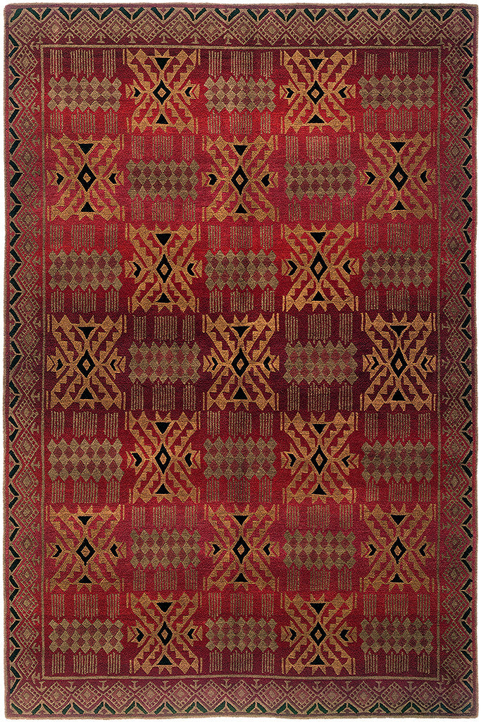 Charming Inca Red  Tibetan Rug, Hand Knotted With Dense Wool. Repeating Geometric  Patterns