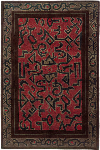 Kiva - Modernist oriental area rug with wild abstract shapes linked to native  american design