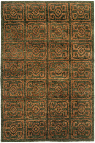 Maya - tibetan weave handmade wool area rug, green with golden patterns,  elegant and