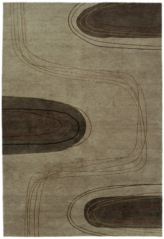 Meander beige - modern oriental rug handmade in Nepal by Tibetan weavers. Simple shapes evoke a stream bed
