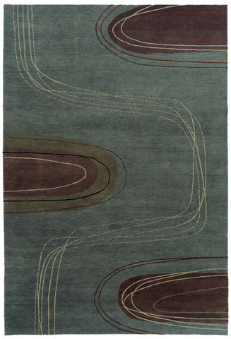 Meander teal - 50's modern area rug made from plush wool. Wonderfully simple shapes flow through this contemporary design.