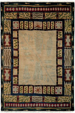 Mesa - Contemporary area rug woven by Tibetan weavers in a style reminiscent of the southwest and cave paintings
