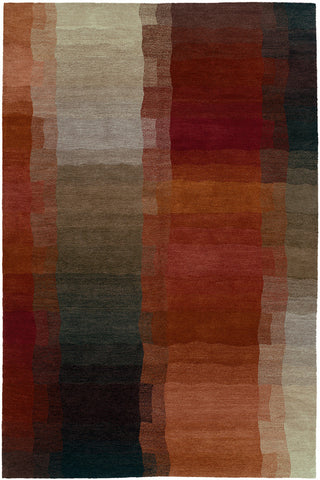Reflections red - contemporary area rug with an abstract design and progressive warm hues and color saturation.