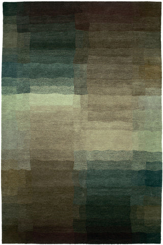 Reflections plum - like looking into a pool of water portrayed by a cubist, this subtle 100 knot tibetan area rug is refreshing to look at