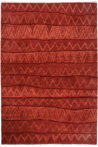 Ricrac - a cheerful contemporary area rug in warm reds. a simple design with pleasingly subtle variation
