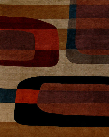 3D - contemporary Tibetan handmade area rug with modern shapes