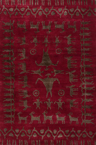 Rock Art - handmade rug with primitive cave painting designs of animals people and patterns on a red background.