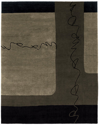 Silk road taupe - handmade Tibetan area rug with very modern design with large shapes loose lines like handwriting
