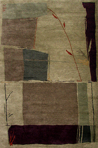 Stems - Modern oriental rug with representational shapes of fields and plant stems