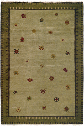Tibetan Sun (sage) - plush modern oriental carpet with a pale green field dotted with small fun patterns and a darker patterned border