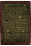 Tibetan Sun (moss) - a wonderfully subtle and playful modern area rug with rich colors and simple quirky shapes