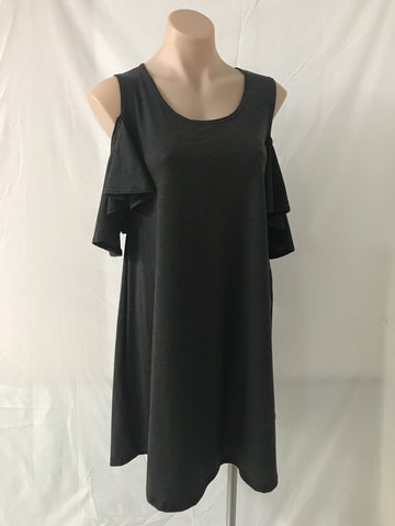 Cold Shoulder Dress {Charcoal}