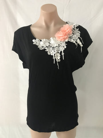Lace and Flower Tee MEDIUM ONLY