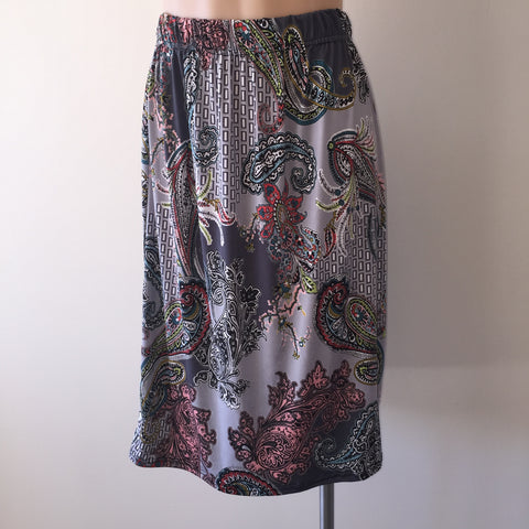 Jersey Skirt {Multi paisley} SMALL ONLY