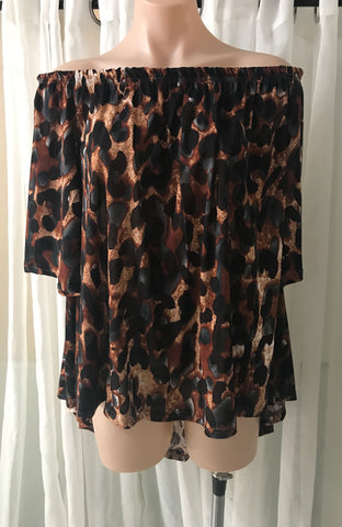 Cheetah HiLo Off the Shoulder Top