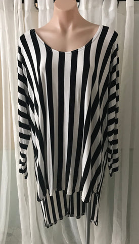 Stripe Long Sleeve HiLo Top with Draped Back