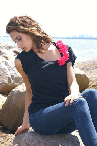 Flower Tee {Hot Pink} LARGE ONLY