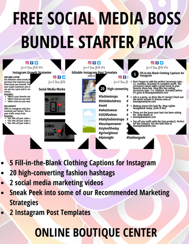 free social media boss bundle starter pack  for online boutique owners