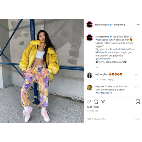 fashionnova instagram caption using branded hashtags