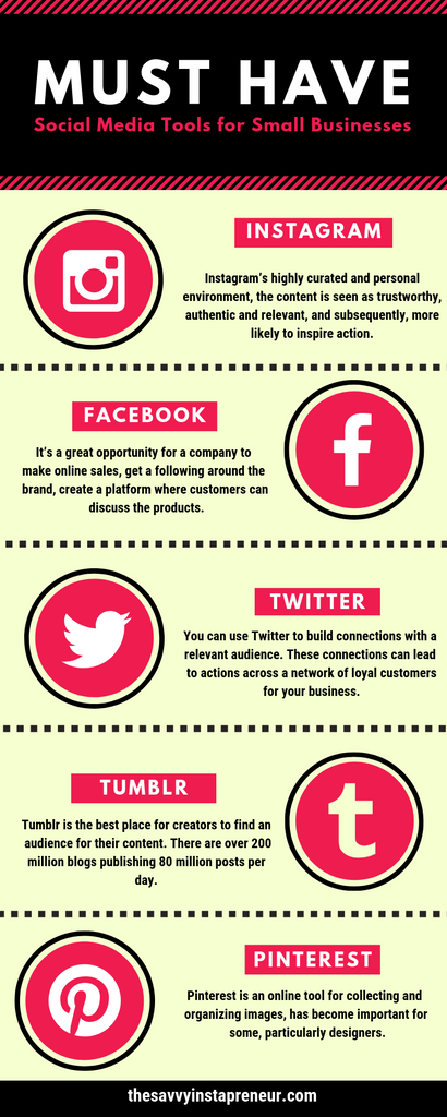 must have social media tools infographic instagram twitter tumblr pinterest facebook the savvy instapreneur