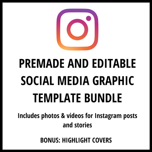 Instagram Premade and Editable Social Media Graphic Template Bundle