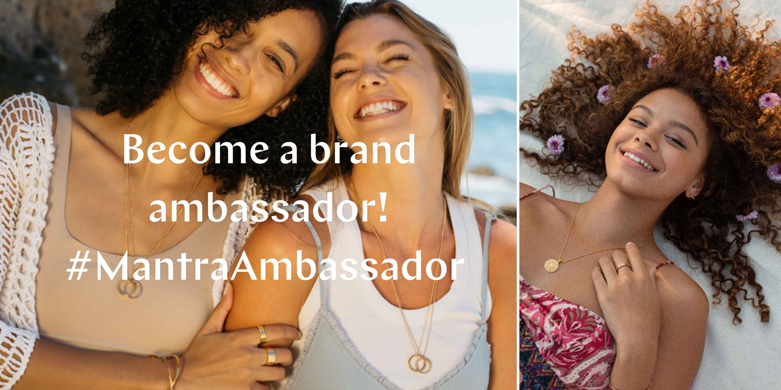Become a brand ambassador #MantraAmbassador. Two Mantra Ambassadors are smiling in this image wearing their inspirational MantraBand jewelry.