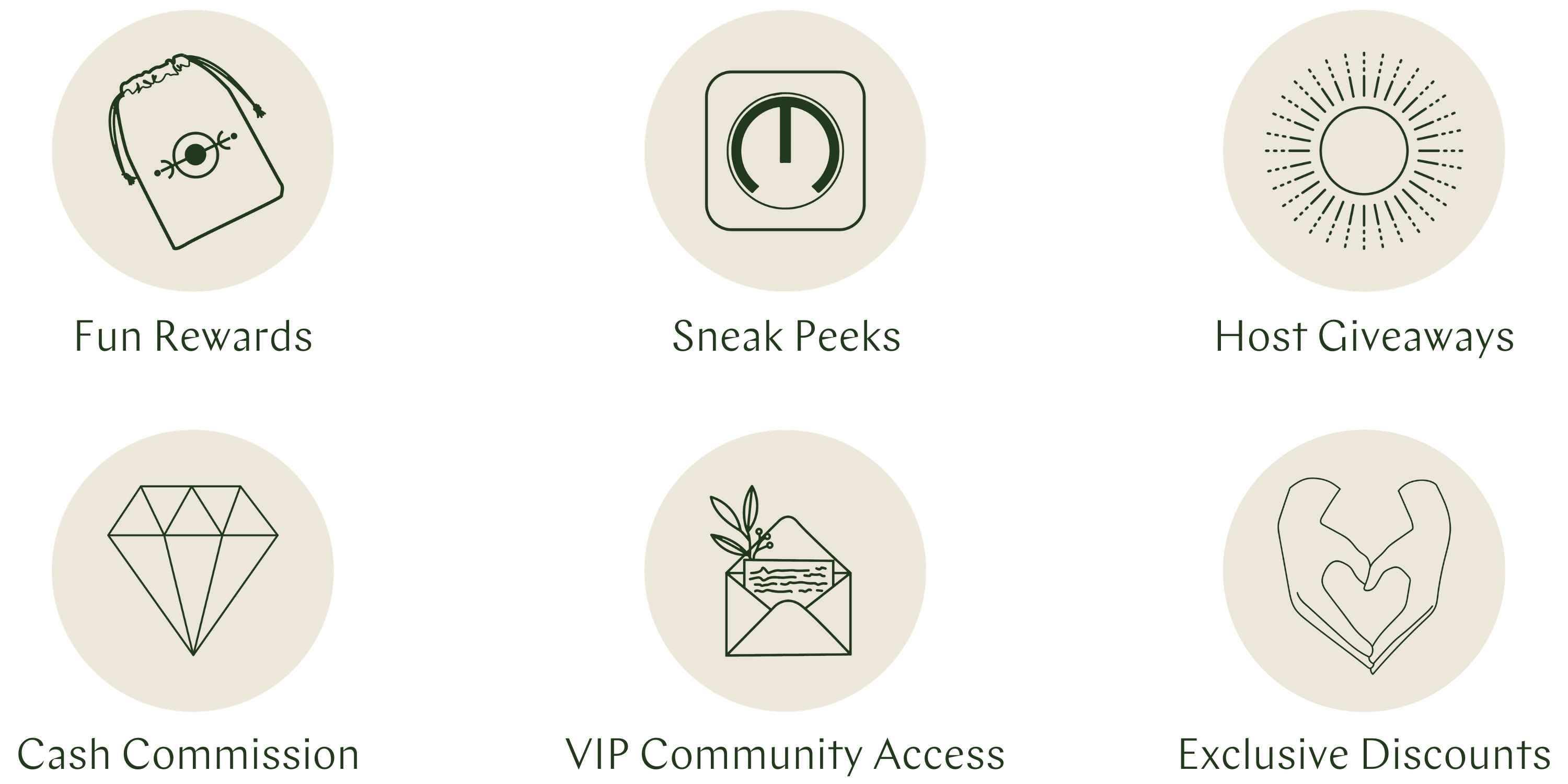 Mantra Ambassador Rewards: fun rewards, sneak peeks, cash commission, host giveaways, VIP community access, and exclusive discounts to products