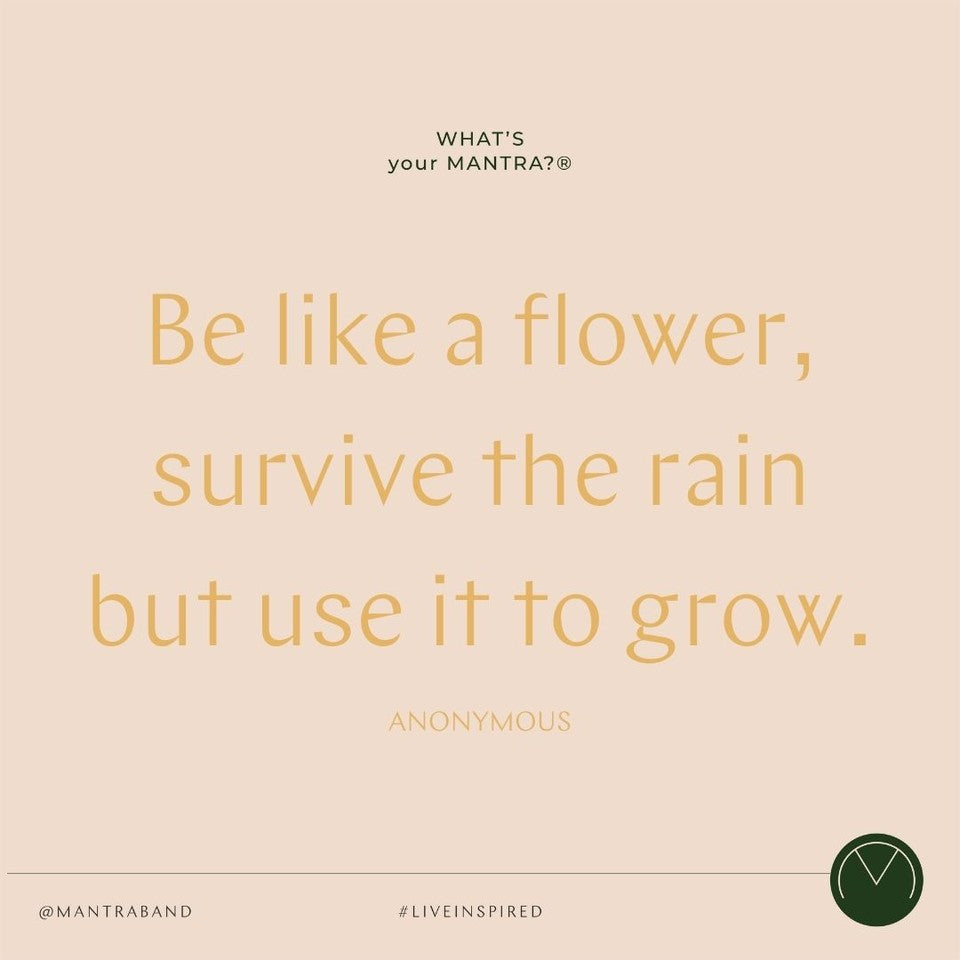 Quote post that says BE LIKE A FLOWER, SURVIVE THE RAIN BUT USE IT TO GROW.