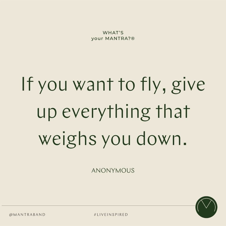 Quote post that says IF YOU WANT TO FLY, GIVE UP EVERYTHING THAT WEIGHS YOU DOWN