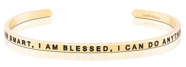 I Am Smart, I Am Blessed, I Can Do Anything gold bracelet - MantraBand