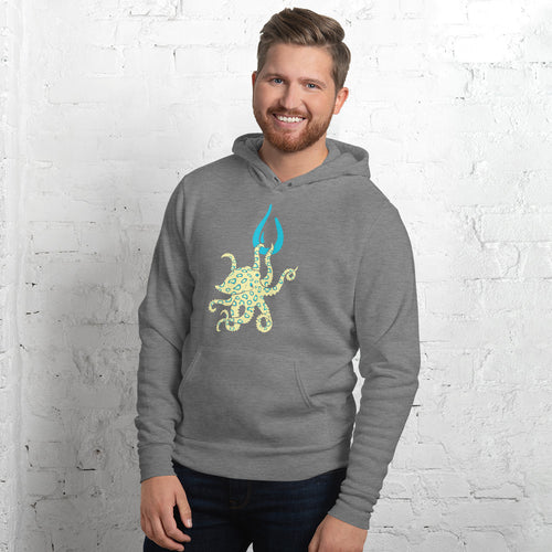 Blue Ring Octopus Unisex Fleece Pullover Hoodie