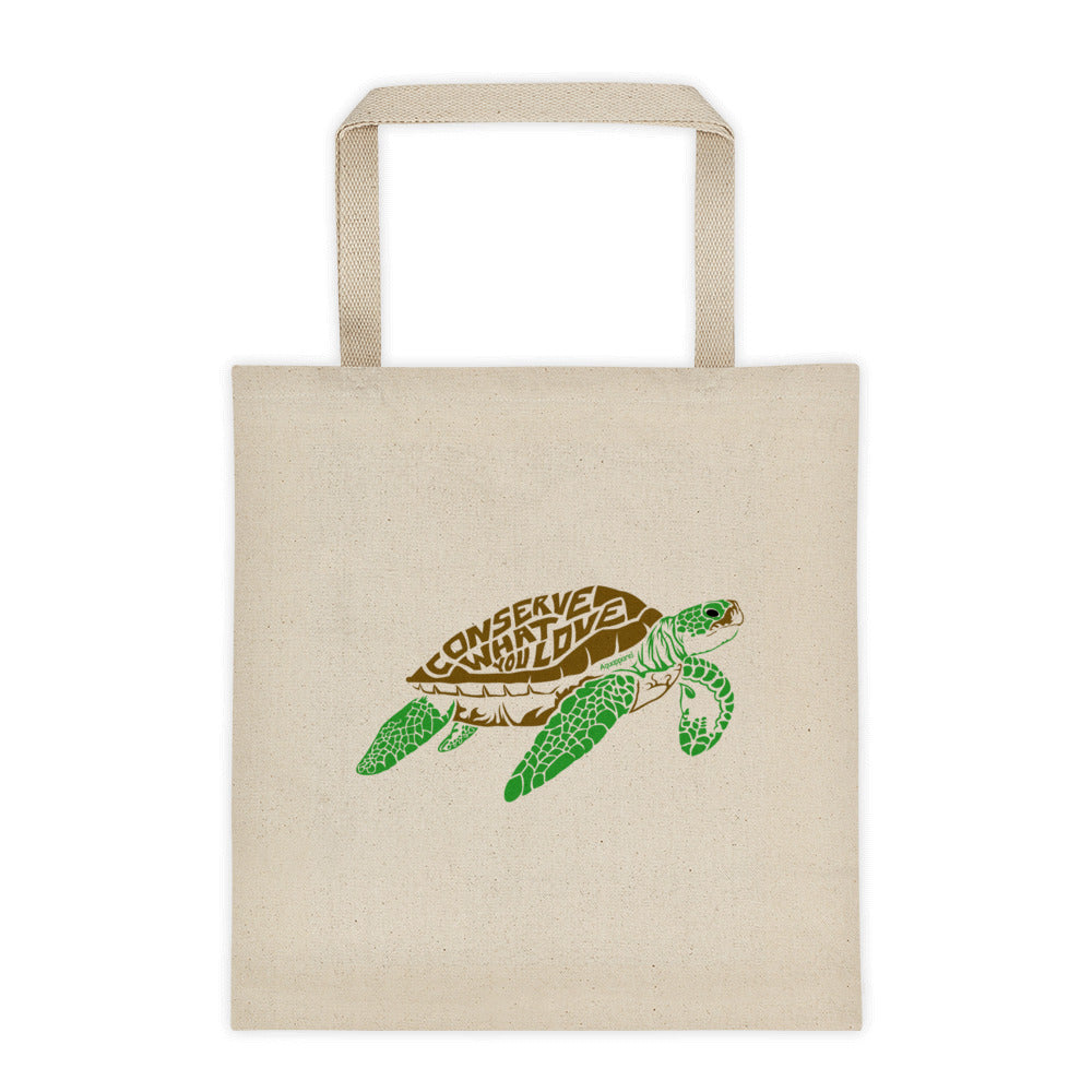 Conserve What You Love Sea Turtle - Full Color 12 Ounce Cotton Canvas Tote