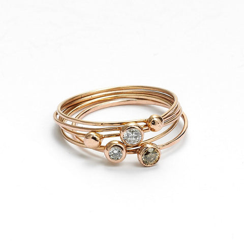 champagne diamond seed ring