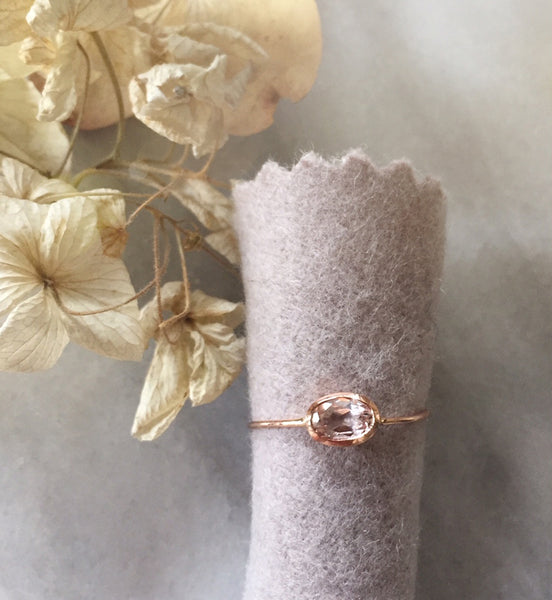 morganite oval bezel ring