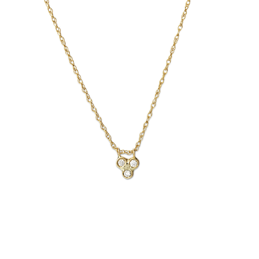 triple seed necklace - white diamonds