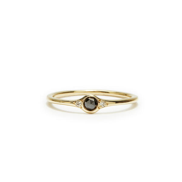 florence black diamond solitaire little ring