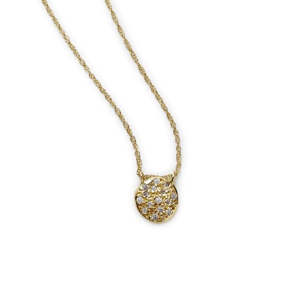 pavé flat seed necklace