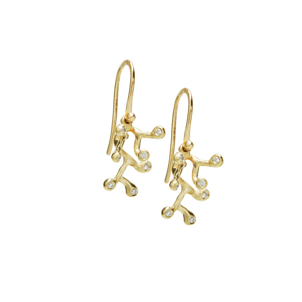diamond branch earrings