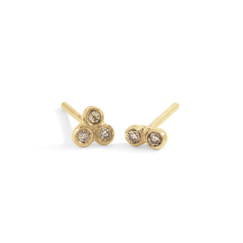 champagne diamond asymmetrical seed studs