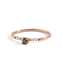 blanca monrós gómez | black diamond little prong pavé solitaire