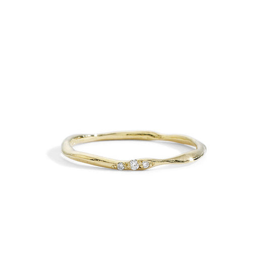 thin wavy champagne diamond band size 6.5