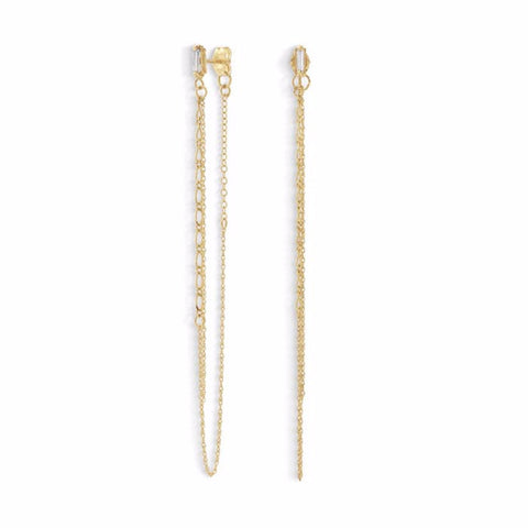 baguette chain earrings
