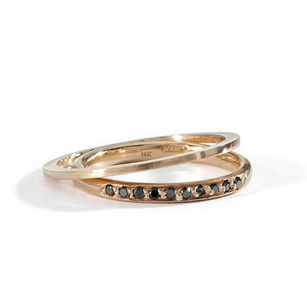 half round black diamond band