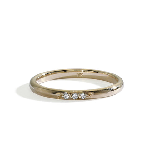 half round dainty diamond band