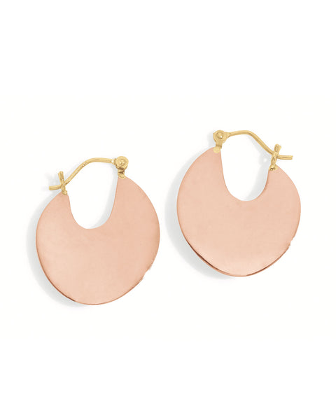 large disc hoop earrings in rose gold