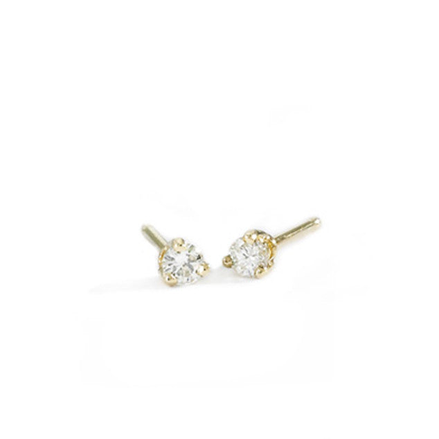 tiny white diamond studs
