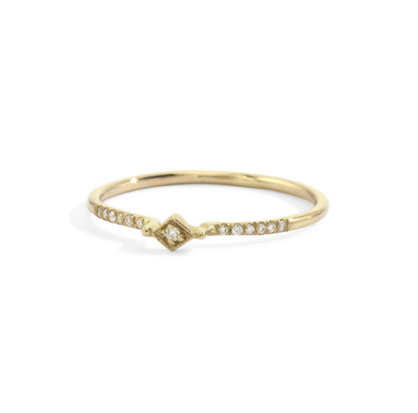 tiny filigree stacking ring in yellow gold size 6