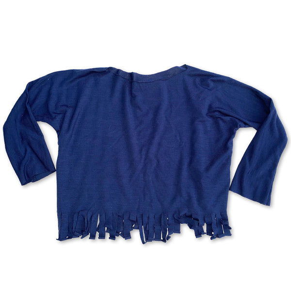 Born By the Shore Midnight Blue Long Sleeve Fringe Top