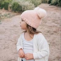 Huggalugs Champagne Chenille Pom Pom Beanie Hat