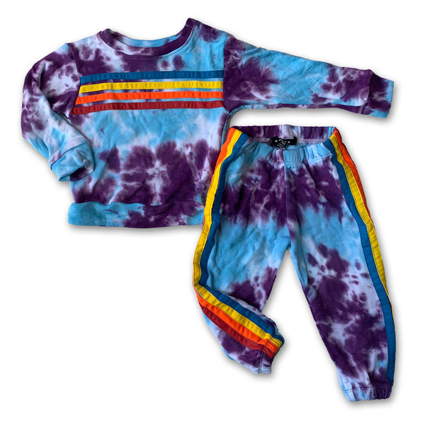 Flowers by Zoe Turquoise Purple Tie Dye Rainbow Sweatshirt Sweatpant Set
